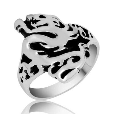 Tekbir Silver - Gümüş Flaming Dragon Erkek Yüzük