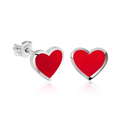 Gumush - Gümüş Fosforlu Kırmızı Kalp Küpe