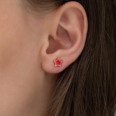 Gumush - Gümüş Fosforlu Kırmızı Yıldız Küpe (1)