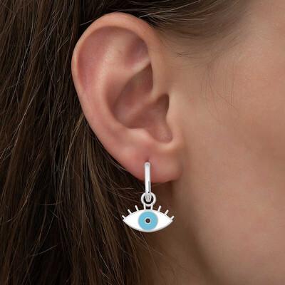 Gumush - Gümüş Fosforlu Mavi Göz Küpe (1)