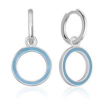 Gumush - Gümüş Fosforlu Mavi Oval Küpe