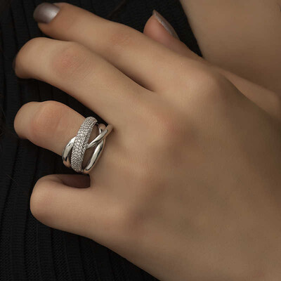 Tekbir Silver - Gümüş Geçişli Model Bayan Yüzük (1)