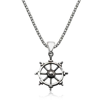 Tekbir Silver - Gümüş Gemi Dümeni Kolye