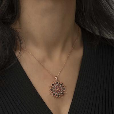 Tekbir Silver - Gümüş Geometrik Desenli Madalyon Kolye (1)