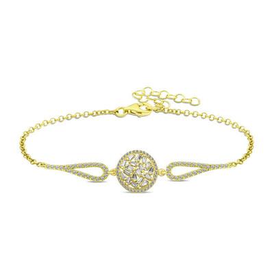 Gumush - Gümüş Gold Baget Taşlı Bileklik