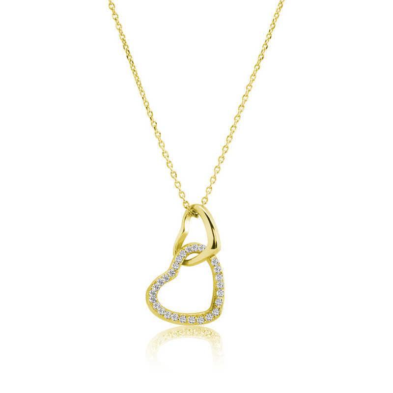 Gümüş Gold İki Kalp Bayan Kolye