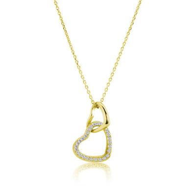 Gumush - Gümüş Gold İki Kalp Bayan Kolye
