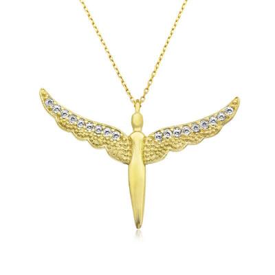 Gumush - Gümüş Gold Kanatlı Melek Bayan Kolye