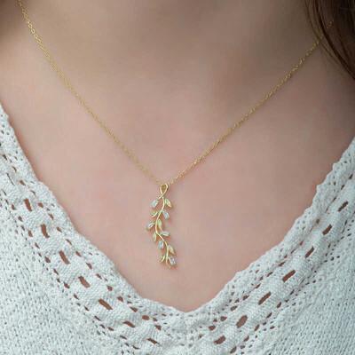 Gumush - Gümüş Gold Sarmaşık Bayan Kolye (1)