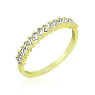 Gumush - Gümüş Gold Sıralı Baget Taşlı Bayan Yüzük