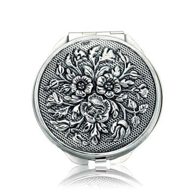 Tekbir Silver - Gümüş Gül Motifli Kapaklı Yuvarlak El Aynası