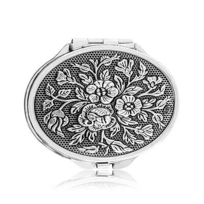 Tekbir Silver - Gümüş Gül Motifli Kapaklı Oval El Aynası