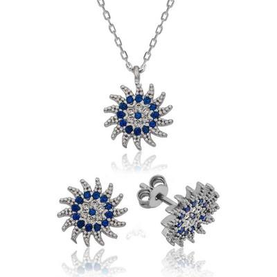 Tekbir Silver - Gümüş Güneşli Nazar Bayan Set