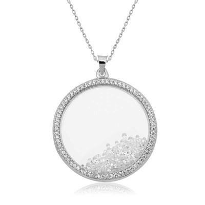 Tekbir Silver - Gümüş Hareketli Taşlı Plaka Kolye