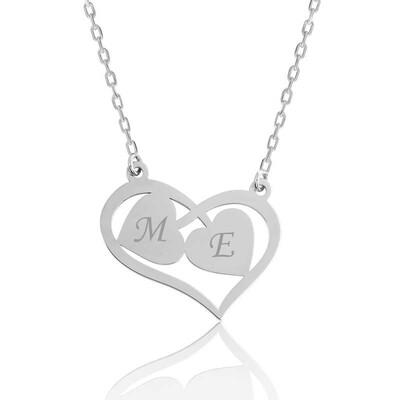Tekbir Silver - Gümüş Harfli Birleşen Kalpler Kişiye Özel Kolye