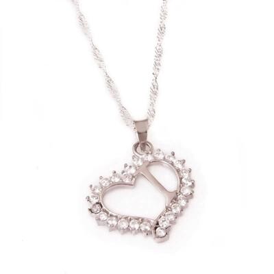 Tekbir Silver - Gümüş I Harf Kalpli Bayan Kolye