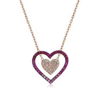 Tekbir Silver - Gümüş İki Kalp Bayan Kolye