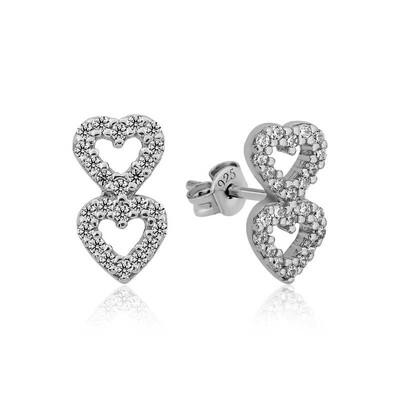 Gumush - Gümüş İki Kalp Çivili Bayan Küpe