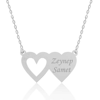 Tekbir Silver - Gümüş İki Kalp İsimli Bayan Kolye