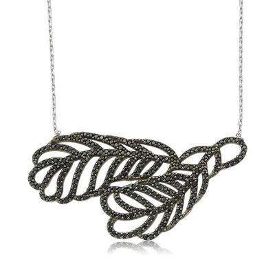 Tekbir Silver - Gümüş İki Yaprak Bayan Kolye