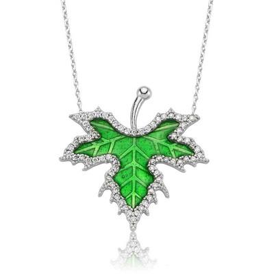 Tekbir Silver - Gümüş İlkbahar Çınar Yaprağı Bayan Kolye