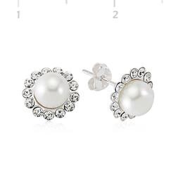 Tekbir Silver - Gümüş İnci Çiçekli Bayan Küpe