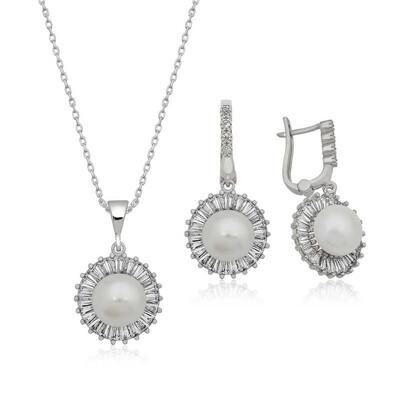 Tekbir Silver - Gümüş İncili Bayan Set