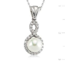Tekbir Silver - Gümüş İncili Sonsuzluk Bayan Kolye