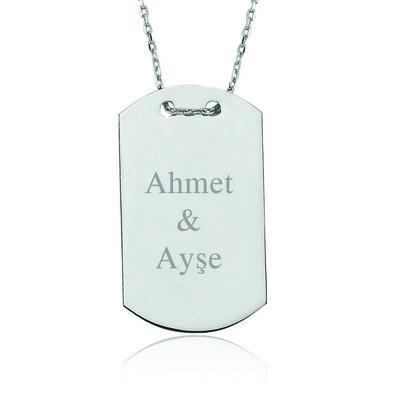 Tekbir Silver - Gümüş İsimli Asker Künyesi Bayan Kolye