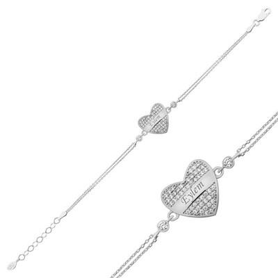 Tekbir Silver - Gümüş İsimli Kalp Bayan Bileklik