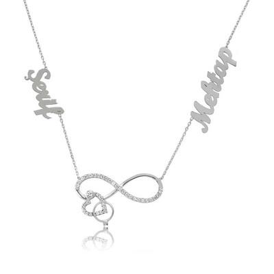 Tekbir Silver - Gümüş İsimli Kalpli Sonsuzluk Bayan Kolye