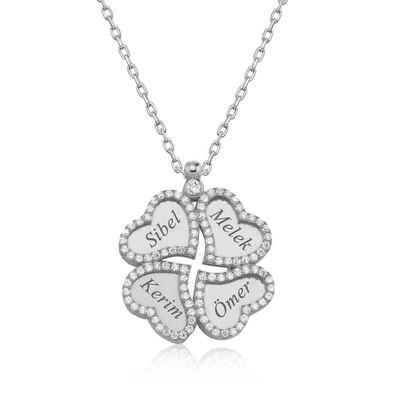 Tekbir Silver - Gümüş İsimli Kapli Yonca Bayan Kolye
