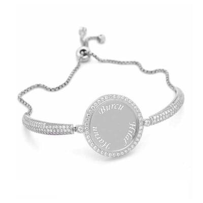 Tekbir Silver - Gümüş İsimli Kişiye Özel Taşlı Bayan Bileklik