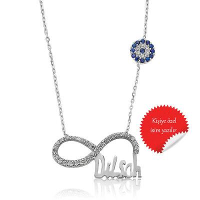 Tekbir Silver - Gümüş İsimli Sonsuzluk Bayan Kolye