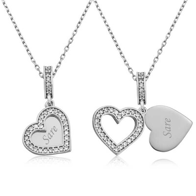 Tekbir Silver - Gümüş İsmin Kalbimde Yazılı Kolye