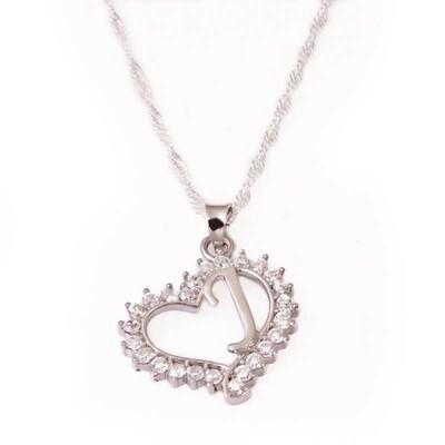 Tekbir Silver - Gümüş J Harf Kalpli Bayan Kolye