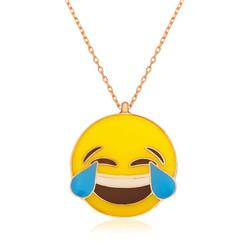 Tekbir Silver - Gümüş Kahkaha Atan Emoji Bayan Kolye