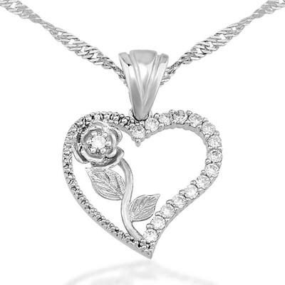 Tekbir Silver - Gümüş Kalbimin Gülü Bayan Kolye