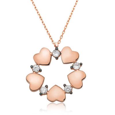 Tekbir Silver - Gümüş Kalp Çemberi Bayan Kolye