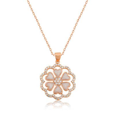 Gumush - Gümüş Kalp Çiçek Bayan Kolye