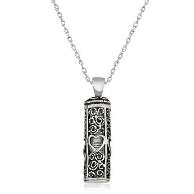 Tekbir Silver - Gümüş Kalp Desenli Cevşen-ül Kebir Kolye