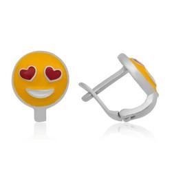 Tekbir Silver - Gümüş Kalp Gözlü Emoji Çocuk Küpesi