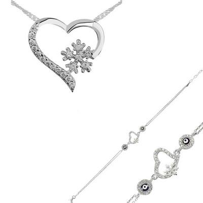 Tekbir Silver - Gümüş Kalp Kar Tanesi Bayan Set