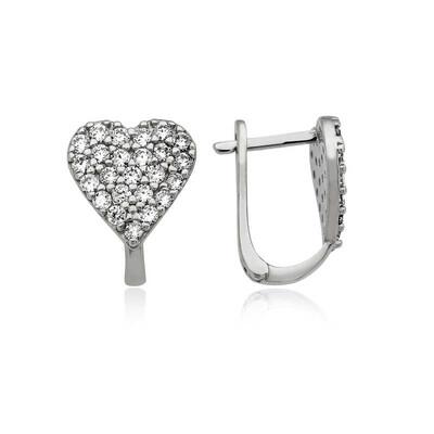 Tekbir Silver - Gümüş Kalp Küpe