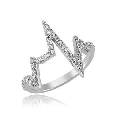 Tekbir Silver - Gümüş Kalp Ritmi Bayan Yüzük