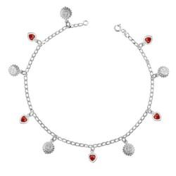 Tekbir Silver - Gümüş Kalp ve Güneş Figürlü Bayan Halhal