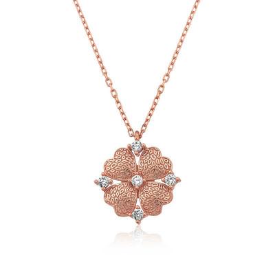 Tekbir Silver - Gümüş Kalp Yapraklı Çiçek Kolye