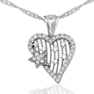 Tekbir Silver - Gümüş Kalp Yıldız Bayan Kolye