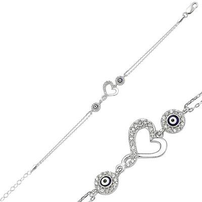 Tekbir Silver - Gümüş Kalpli Bayan Bileklik