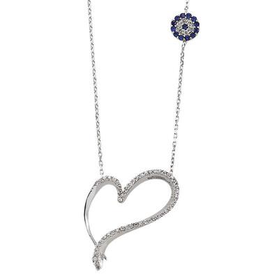 Tekbir Silver - Gümüş Kalpli Bayan Kolye